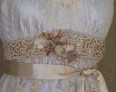 Antique Lace  Champagne Velvet Satin Ribbon Wedding Dress Sash