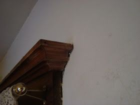 Lady of Whimsy: Remove paint splatter from wood trim AFTER IT DRIES!!