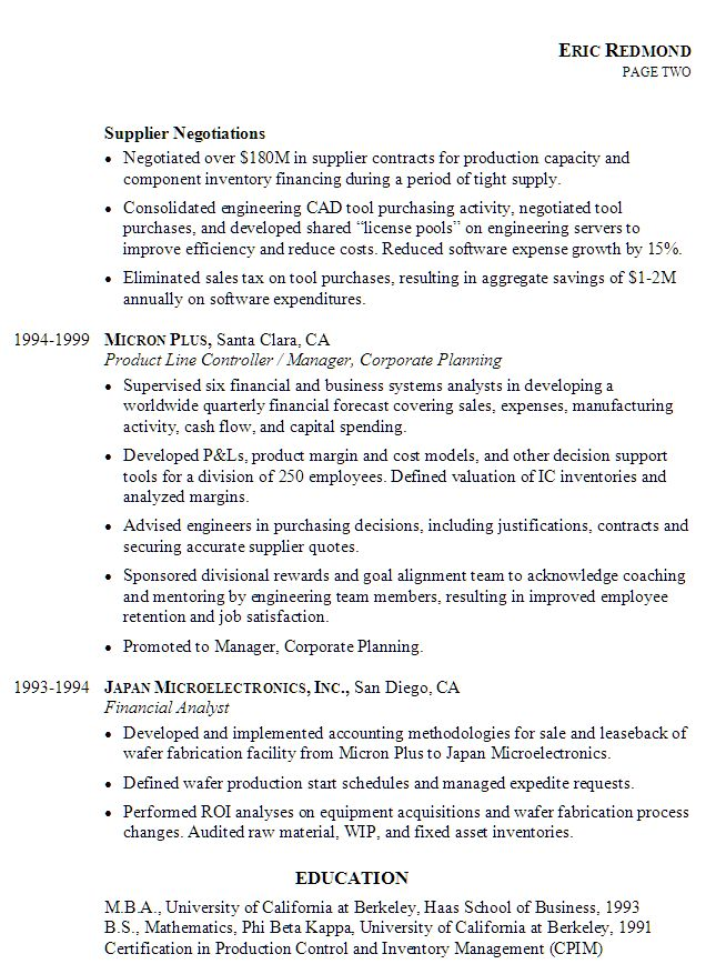Sample Resume for Controller, pg2