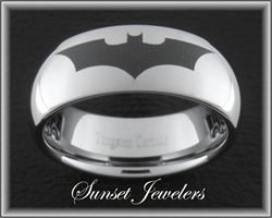 Batman Tungsten Ring. Great Father's Day Gift Idea