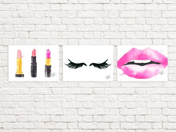 Gallery Wall Prints  Fashion Watercolor Lipsticks by lezleelliott