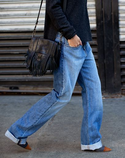Relaxed denim & a fringe PS1 bag.