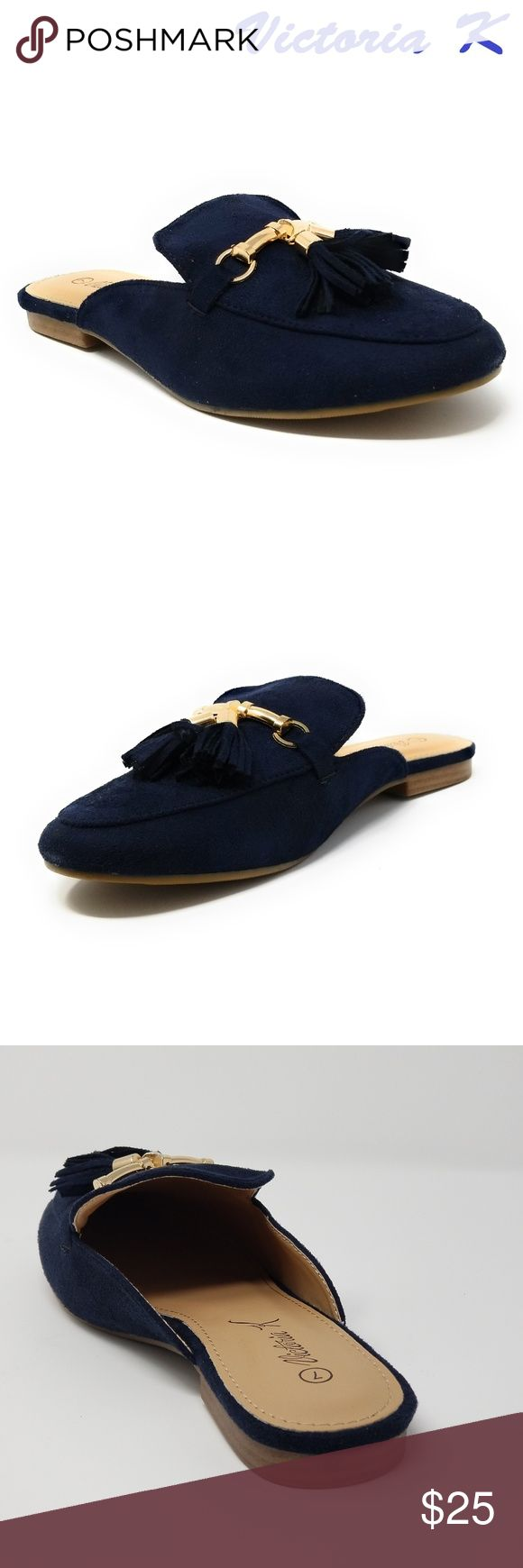 Women Suede Mules with Tassels, HK-7081, Navy Slip on a pair of gorgeous brand new suede flat slippers that make you a fashionable woman. Faux-leather upper. Rubberized outer sole for traction. Sizes 6 through 8 are true, but 9 and 10 run small by a half-size. A true statement in ladies shoes fashion! Victoria K Shoes Flats & Loafers