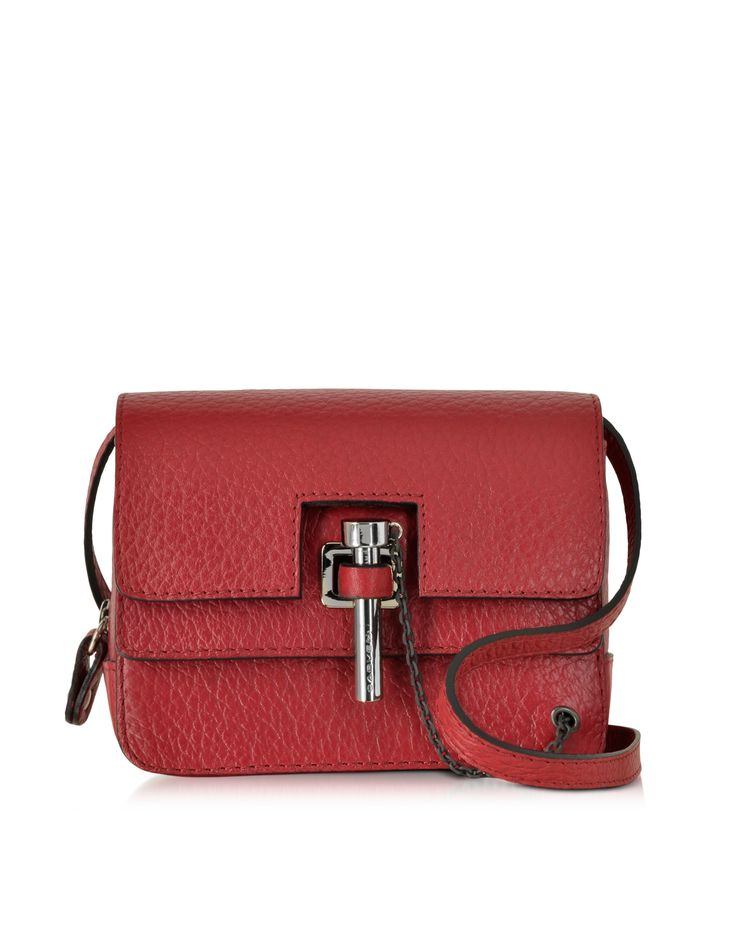 Carven Raspberry Malher Grained Leather Mini Crossbody Bag at FORZIERI