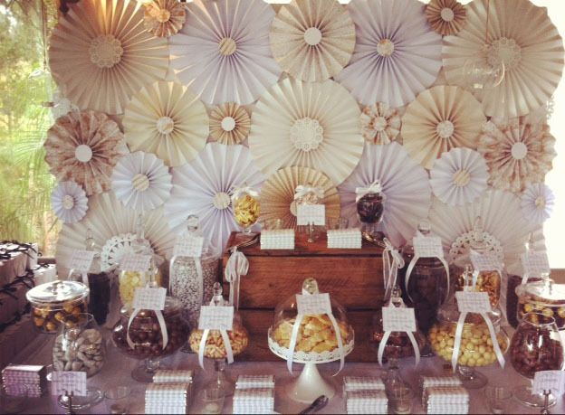 Brown And Gold Wedding Ideas: Cream, Gold And Brown Chocolate Buffet Wedding Party Ideas