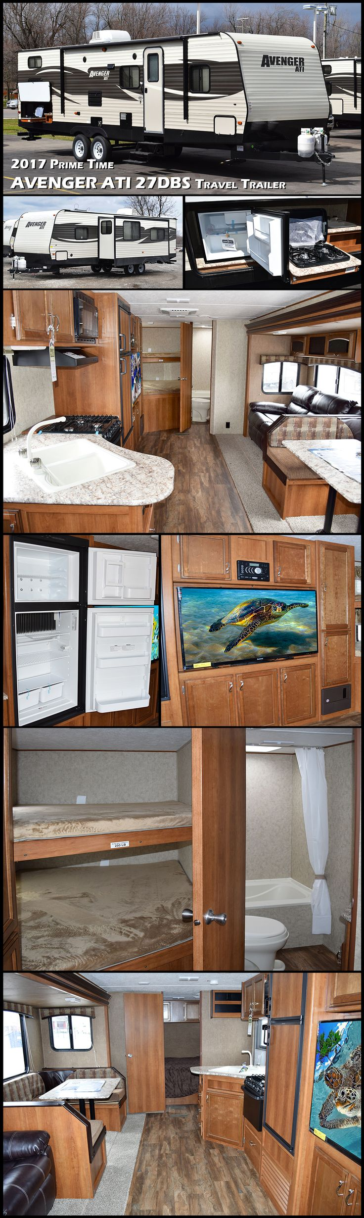 Enjoy traveling and experiencing new adventures in this 2017 Prime Time Avenger ATI bunkhouse travel trailer model 27DBS! This unit features a set of double bed bunks, a large slide out, and an outdoor kitchen to enjoy!