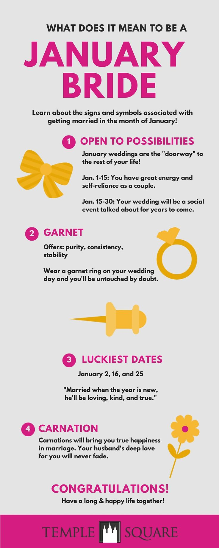Hochzeitssymbole für Januar-Bräute