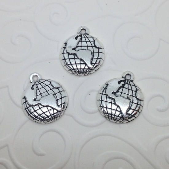 5 x World Charms, World globe map charms, Map charms, Travel charms, Jewellery supplies uk, by Diecutpixiecrafts on Etsy