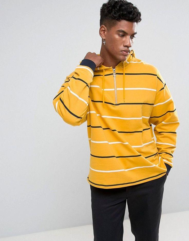 ASOS Oversized Stripe Hoodie with Half Zip - Yellow