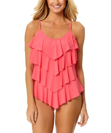 Loving this Coral Tiered Ruffle Tankini Top on #zulily! #zulilyfinds