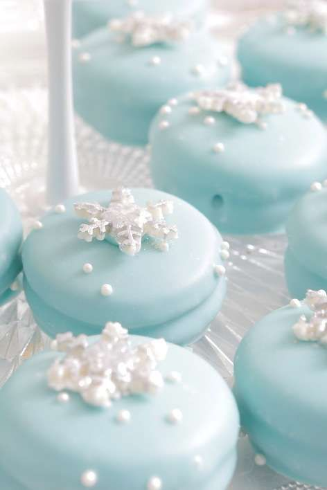 Elegant Frozen Birthday Party cookies! See more party planning ideas at CatchMyParty.com!