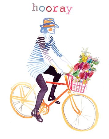 By Samantha Hahn.: Inspiration, Bikes, Watercolors, Illustration, Hooray, Bicycle Art, Flower
