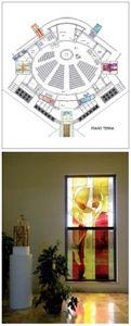 Il tabernacolo. La pianta, con la disposizione delle vetrate.