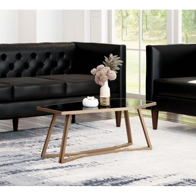 A11537 Geo Coffee Table Black Gold Abstract Angles Give This Table A Beautiful And Artistic Form T Coffee Table Black Glass Coffee Table Velvet Furniture