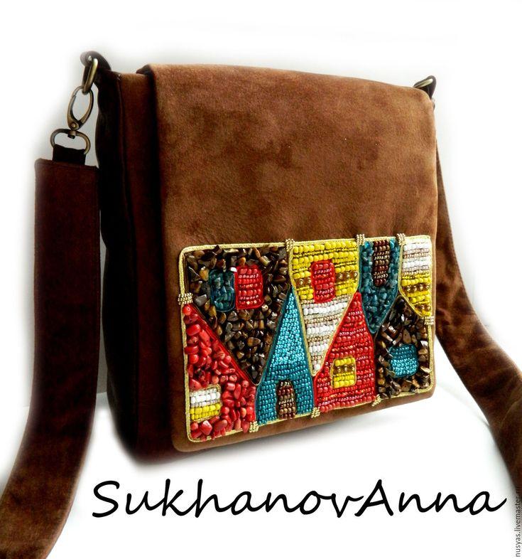 """Купить Сумка """"Волшебный город"""" - коричневый, сумка кожаная, сумка небольшая, сумка замшевая"""