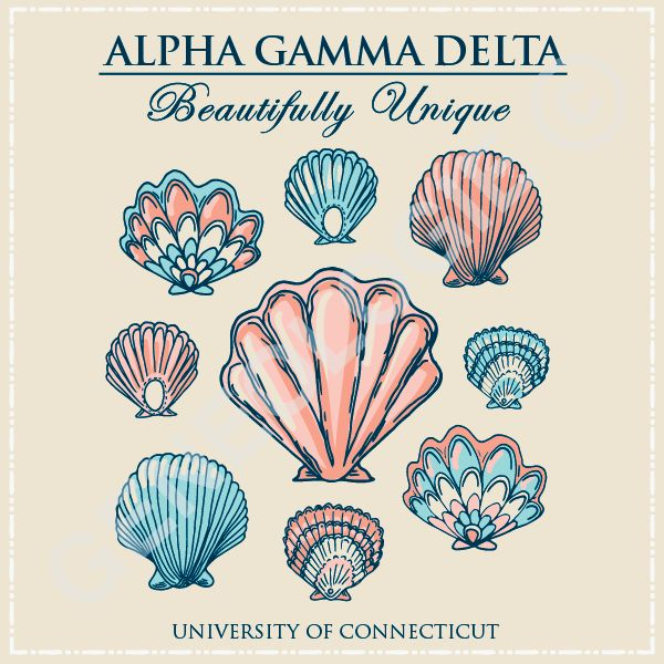 Beautifully unique. Geneologie | Greek Tee Shirts | Greek Tanks | Custom Apparel Design | Custom Greek Apparel | Sorority Tee Shirts | Sorority Tanks | Sorority Shirt Designs  | Sorority Shirt Ideas | Greek Life | Hand Drawn | Sorority | Sisterhood | Beach | Seashell | Bid Day | Recruitment | AGD | Alpha Gamma Delta | Nautical