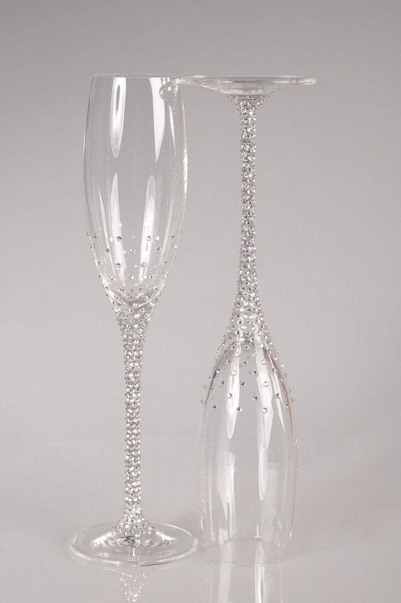 Flautas de champán boda conjunto de 2 copas de boda por Adeleart