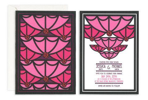 Fuchsia Roaring Twenties Invite – Jo's Paperie #wedding #invitations #floral #template