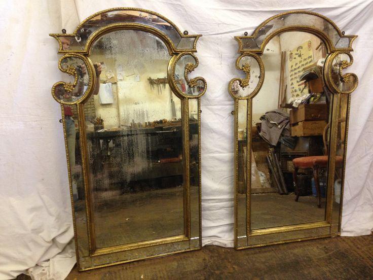 Pair of antique gilt mirrors