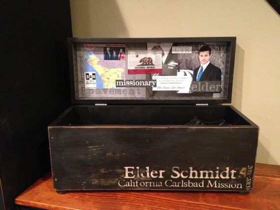 I love this! Please check out my niece's amazing talents and support the missionary currently serving in their family: LDS Large Missionary Trunk custom built & by LifesTimesandSeasons, $125.00