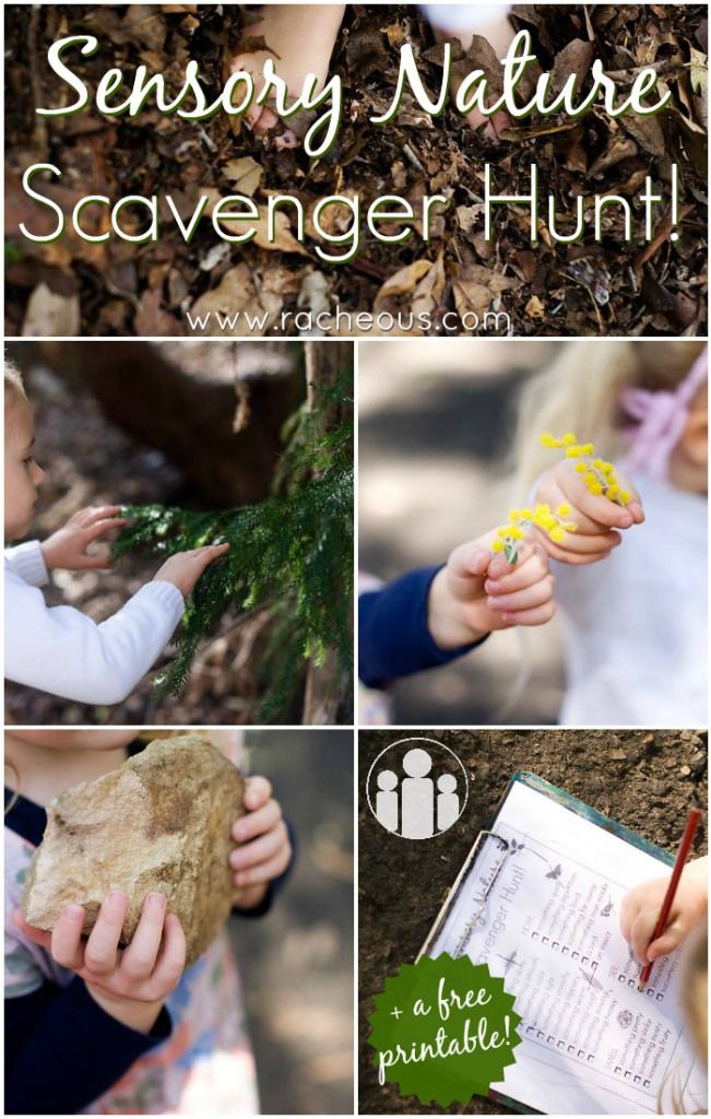 Sensory Nature Scavenger Hunt with free printable  from Racheous - Lovable Learning