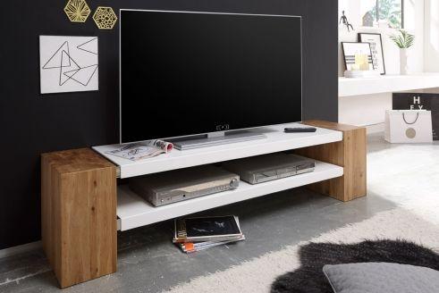 meuble tv blanc laque et naturel
