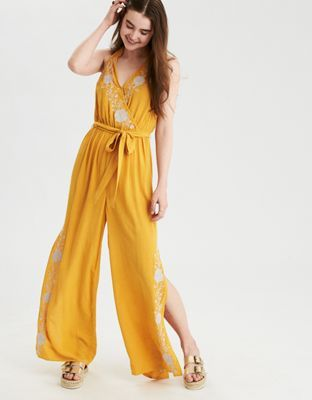 8996c23c24e AE Embroidered Halter Jumpsuit by American Eagle Outfitters