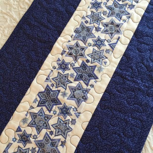 Hanukkah Passover Table Runner Quilt - Blue - White - Chanukah - Judaica - Star of David - Handmade Quiltsy by KeriQuilts on Etsy