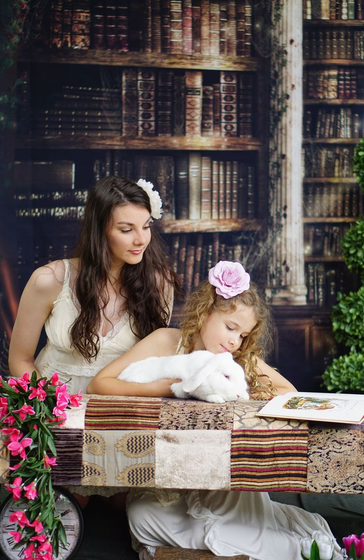 Library Backdrop photoshoot with Romantic Alice in Wonderland feel