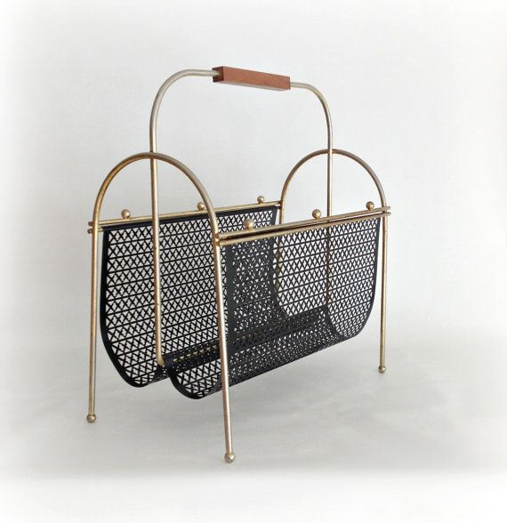Midcentury Magazine Rack Gold Black Metal by vintage19something, $90.00