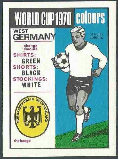 West Germany kit card for the 1970 World Cup Finals.