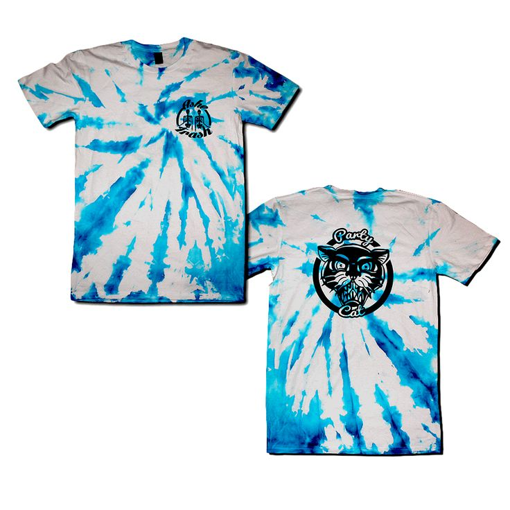 Tie Dye fun edition of the classic Ashetrash Tees (Party Cat)