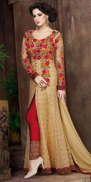 Heartily Brown Net Embroidery Gown.