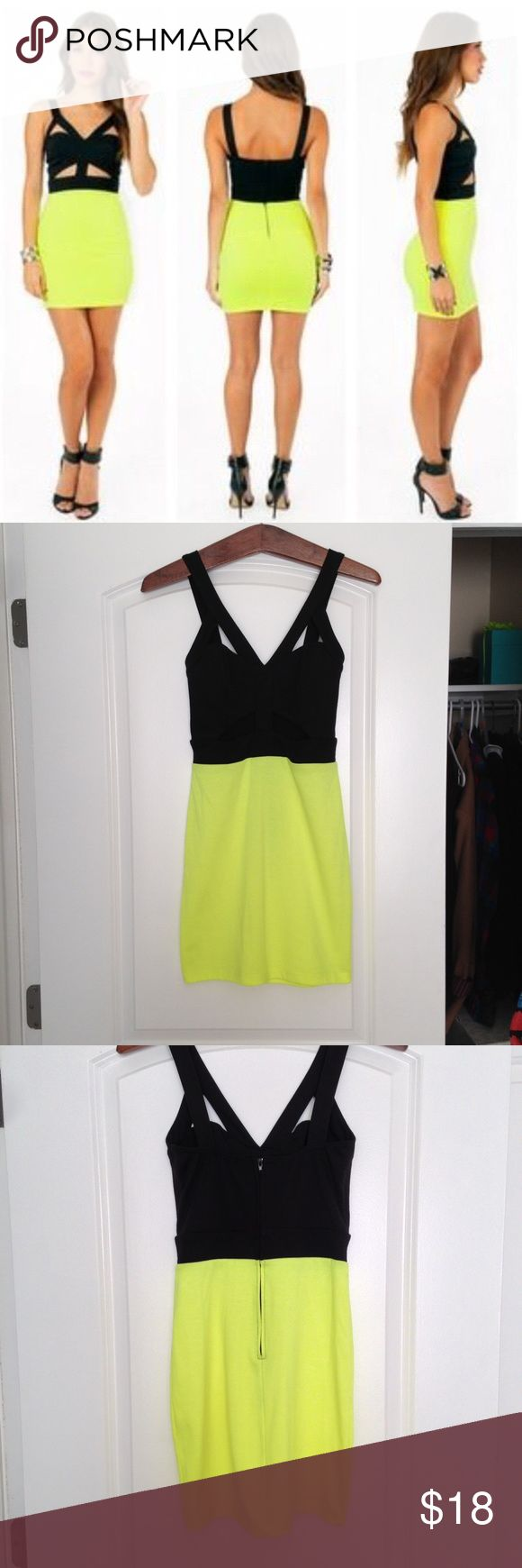 """•SALE• Neon Cut Out Dress from Tobi Neon cut out body con dress from Tobi. Color: neon yellow and black. Size: S. Great going out /party dress. Note: It looks like something rubbed off on the bottom right corner of the dress, but it isn't very noticeable (pictured). Approx. 30"""" in length. 85% polyester, 12% rayon, 2% spandex. Tobi Dresses Mini"""