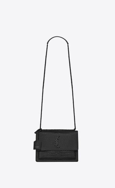 dad2044d696d SAINT LAURENT Sunset Woman Medium SUNSET bag in black crocodile embossed  shiny leather a V4