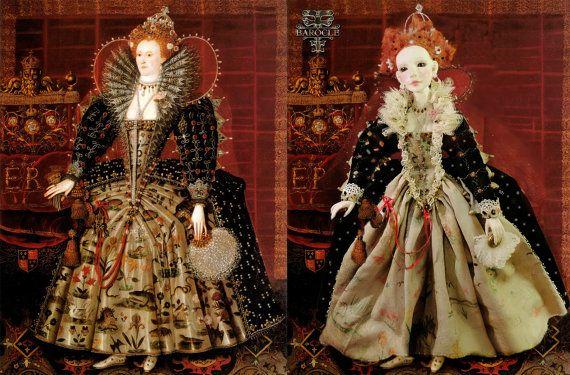 Bjd Antique Set - Queen Elizabeth I Handmade dress