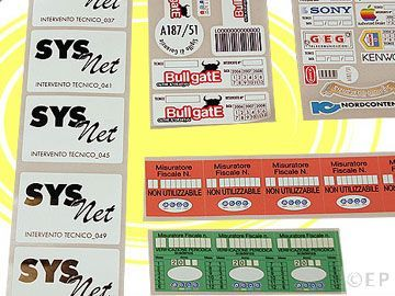Etichette sigilli di garanzia anticontraffazione, si rompono al tentativo di rimozione, fornite in fogli con numeri progressivi, barcode, personalizzate.