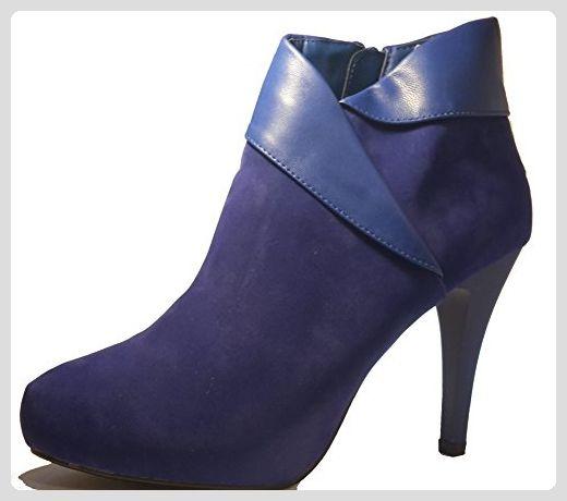 Elegante Stiletto High Heels Stiefel in tief-blau mit seitlichem Reißverschluß, Größe 39; Damenschuhe, STI002, Schuh für Damen, bunt und extravagant, hier: Blau. - Stiefel für frauen (*Partner-Link)