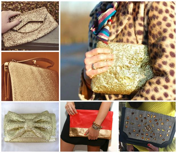 Glittery DIY's You Can Do Before The Ball Drops!  Purse:  Glitter Clutch (big pic), Fold Down Glitter Clutch, Structured Glittery Purse, Glittery Bow Bag, Spray Paint clutch, Crystals Clutch...