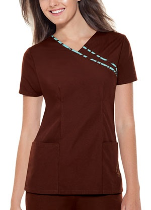 V-neck top scrubs in brown, by baby phat