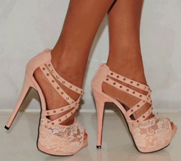 nude soft laced adorable pink high heels