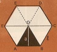 05-AREA DE LOS POLIGONOS REGULARES:   Este exágono regular está dividido en 6 triángulos. El triángulo ABO tiene de altura el segmento a. Este segmento se llama apotema del polígono.     El área de cada triángulo valdrá el producto del lado por la apotema, dividido por 2; l x a / 2.     Como tenemos 6 triángulos, el área del exágono es 6 x l x a / 2.     El área del polígono regular es igual a la mitad del producto del perímetro por la apotema..