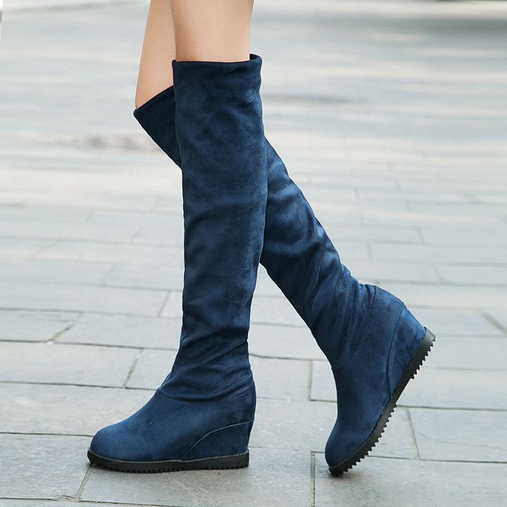 Synthetic Suede Solid Women Ladies Shoes High Wedge Knee High Boots Us Size 4-8