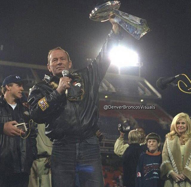 Pat Bowlen - Owner - Hoisting the Super Bowl Trophy 1998.