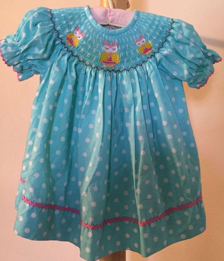 Infant Baby Girl Smocked Dress Size 3 Month Blue Polkadot Owls Spring Easter #SouthernSunshineKids #SmockedRosebud #FormalParty