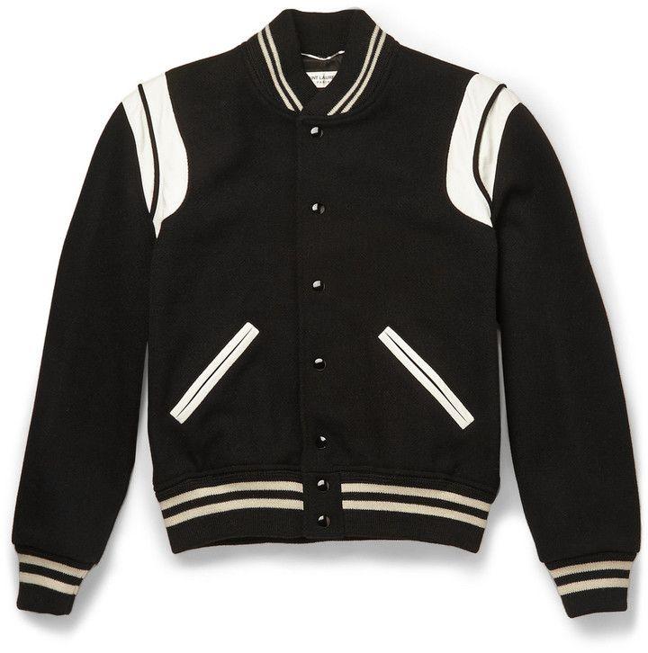 Saint Laurent Leather-Trimmed Wool-Blend Varsity Jacket