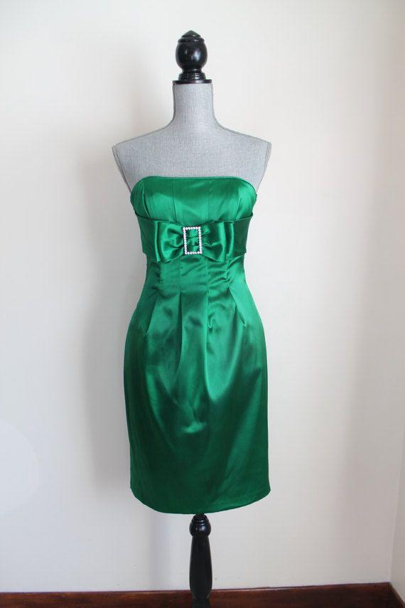 des années 1980 vert Satin robe de Cocktail par Jessica McClintock, taille 4 Petite robe bustier strass Crystal Accents formelle court