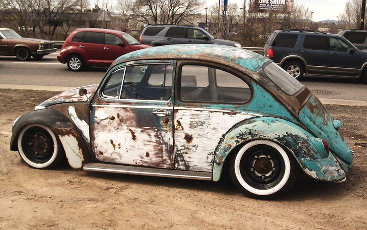 incredible VW beetle. # rusty cool .... ♠ VW beetle budg # slammed # old school ♠... X Bros Apparel Vintage Motor T-shirts, VW Beetle & Bus T-shirts, Great price