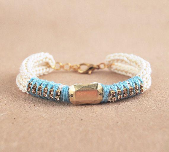 Gebreide armband met beige koord armband strass door LeiniJewelry