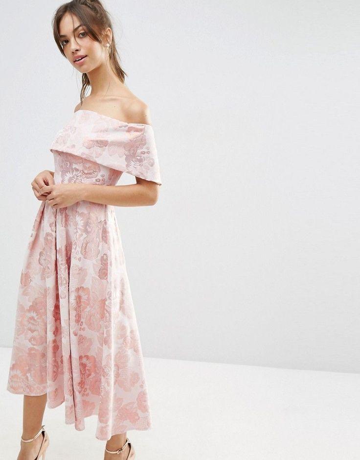 ASOS+Pink+Jacquard+Fold+Over+Midi+Prom+Dress